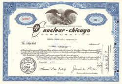 Nuclear-Chicago Corporation -  historic stocks - old certificates Utilities and Power Grid