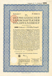 Ostpreußische General-Landschafts-Direktion (500er 1927) -  historic stocks - old certificates Cities and States