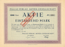 Pallas-Verlag Aktien-Gesellschaft -  historic stocks - old certificates Media and Film