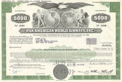 Pan Am World Airways, Inc. (PAN AM) Bond historische Wertpapiere - alte Aktien