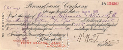 Pennsylvania Company (Frachtscheck) historic stocks - old certificates