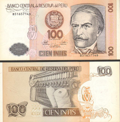Peru 100 Intis 1987 - bill - paper money