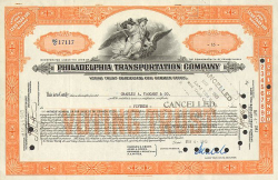Philadelphia Transportation Company -  historic stocks - old certificates Railroads