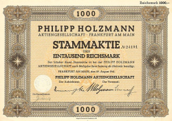 Philipp Holzmann (1000 RM) (nicht entwertet) -  historic stocks - old certificates Hotels and Real Estate