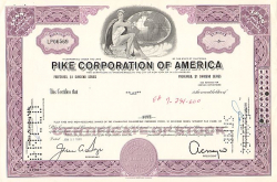 Pike Corporation of America -  historic stocks - old certificates Hotels and Real Estate