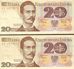 Polen 20 Zloty 1982 - bill - paper money