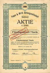 Poppe & Wirth Aktiengesellschaft (5000 1923) -  historic stocks - old certificates Trading and Transportation