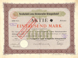 Porzellanfabrik Lorenz Hutschenreuther Aktiengesellschaft -  historic stocks - old certificates Others