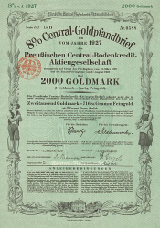 Preußische Central-Bodenkredit-Aktiengesellschaft (1927  2000) -  historic stocks - old certificates Banks and Insurance