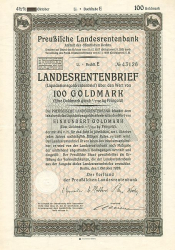 Preußische Landesrentenbank (1928  100 GM) -  historic stocks - old certificates Cities and States