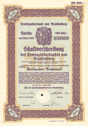 Provinzialverband von Brandenburg (500er 1928) -  historic stocks - old certificates Cities and States