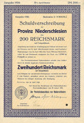 Provinz Niederschlesien (200er 1926) -  historic stocks - old certificates Cities and States