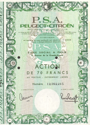 P.S.A. Peugeot Citroen -  historic stocks - old certificates Automobiles