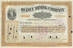 Quincy Mining Company -  historic stocks - old certificates Mining