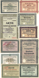 10 verschiedene Reichsbank Aktien  historic stocks - old certificates