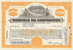 Richfield Oil Corporation historische Wertpapiere - alte Aktien