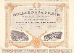 Rolland & EM. Pilain -  historic stocks - old certificates Automobiles