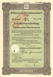 Ruhrgas Aktiengesellschaft Essen (500) -  historic stocks - old certificates Utilities and Power Grid