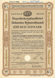 Sächsische Bodencreditanstalt (100 RM) (nicht entwertet)) -  historic stocks - old certificates Banks and Insurance
