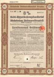 Sächsische Bodencreditanstalt (2000er Januar 1928) -  historic stocks - old certificates Banks and Insurance