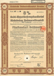 Sächsische Bodencreditanstalt (500GM Januar 1928) -  historic stocks - old certificates Banks and Insurance