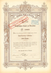 Sächsische Bank zu Dresden -  historic stocks - old certificates Banks and Insurance
