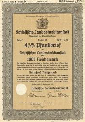 Schlesische Landeskreditanstalt (1000er 1936) -  historic stocks - old certificates Cities and States
