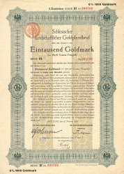 Schlesische Landschaft (1927  1000) -  historic stocks - old certificates Cities and States