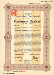 Schlesische Landschaft (1925  500) -  historic stocks - old certificates Cities and States
