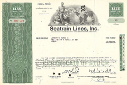 Seatrain Lines, Inc. -  historic stocks - old certificates Railroads