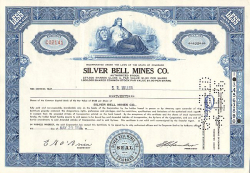 Silver Bell Mines Co. -  historic stocks - old certificates Mining