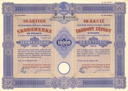 Skodawerke (Aktiengesellschaft vormals Skodawerke in Pilsen) -  historic stocks - old certificates Automobiles