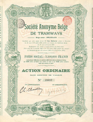 Societe Anonyme Belge de Tramways -  historic stocks - old certificates Railroads