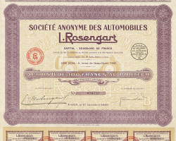Société Anonyme des Automobiles L. Rosengart -  historic stocks - old certificates Automobiles