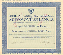 Sociedad Anonima Espanola Automoviles Lancia -  historic stocks - old certificates Automobiles