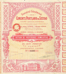 Société Générale des Ciments Portland de Sestao -  historic stocks - old certificates Hotels and Real Estate