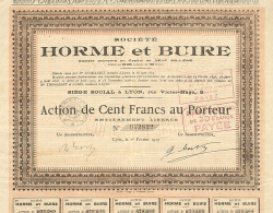 Société Horme & Buire -  historic stocks - old certificates Automobiles