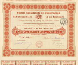 Société Industrielle de Construction d'Automobiles & de Moteurs (SICAM) -  historic stocks - old certificates Automobiles