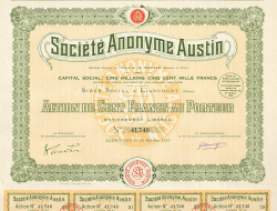 Société Anonyme Austin -  historic stocks - old certificates Automobiles