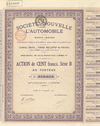 Société Nouvelle L'Automobile -  historic stocks - old certificates Automobiles