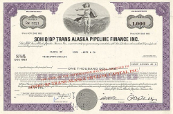 Sohio/BP Trans Alaska Pipeline Finance Inc. -  historic stocks - old certificates Oil and Chemicals