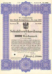 Stadt Königsberg i. Pr. (1000er 1929) -  historic stocks - old certificates Cities and States