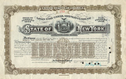 State of New York (10000$ Canal Improvement Bond) historische Wertpapiere - alte Aktien