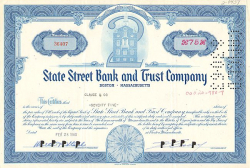 State Street Bank and Trust Company -  historic stocks - old certificates Banks and Insurance