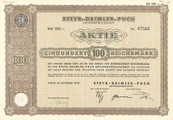 Steyr-Daimler-Puch Aktiengesellschaft -  historic stocks - old certificates Automobiles