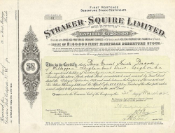 Straker-Squire Limited -  historic stocks - old certificates Automobiles