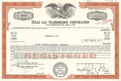 Texas Gas Transmission Corporation historische Wertpapiere - alte Aktien