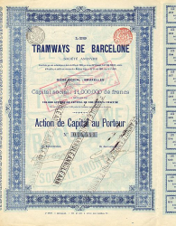 Tramways de Barcelone -  historic stocks - old certificates Railroads