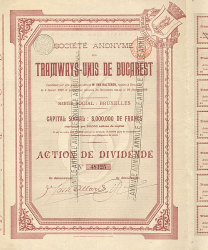 Tramways-Unis de Bucarest -  historic stocks - old certificates Railroads
