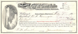 Treasurer of the City of Great Falls historic stocks - old certificates